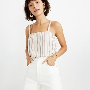 Madewell Side Button Flecked Rainbow Stripe Tank